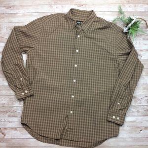 Eddie Bauer Brown Checkered Button Up Dress Shirt
